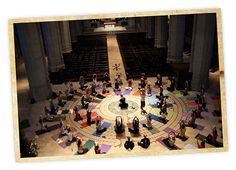 Grace Cathedral Labyrinth in San Francisco.  Yoga classes are frequently held on the labyrinth.