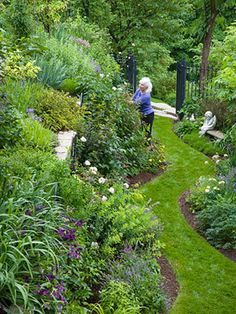 Tour: Tame a Steep Backyard Best Plants for a Slope by An Illinois master gardener shares her tips for taming a difficult landscape.Best Plants for a Slope by An Illinois master gardener shares her tips for taming a difficult landscape. Steep Backyard, Sloped Backyard, Sloped Garden, Sloped Front Yard, Front Yards, Side Yard Landscaping, Landscaping Ideas, Steep Hillside Landscaping, Hydrangea Landscaping