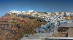 Firostefani on the Cliffs  of Santorini, GREECE Santorini Greece, Cliff, Grand Canyon, Nature, Travel, Naturaleza, Viajes, Destinations, Grand Canyon National Park
