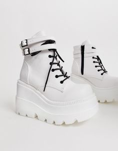 Shop the latest Demonia Shaker double buckle chunky flatform boots in White trends with ASOS! Dr Shoes, Hype Shoes, Me Too Shoes, Shoes Heels, Asos Shoes, Grunge Shoes, Goth Shoes, Kawaii Shoes, Kawaii Clothes