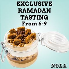 Pre- Ramadan tasting for our Ramadan Menu TOMORROW at all NOLA stores. Treat yourself to all the new festive flavours at the same time.