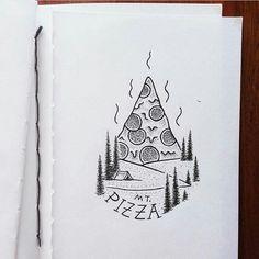 Art Drawings Sketches, Easy Drawings, Tattoo Drawings, Pencil Drawings, Tattoos, Pizza Art, Doodle Art Designs, Arte Sketchbook, Bullet Journal Art
