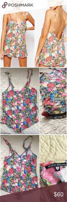 WILDFOX Flower Delivery Ruffle Romper *Size: SMALL *100% rayon *Super cute, perfect condition! *Ruffled leg openings, adjustable straps  wildfox size small wildfoxcouture romper lingerie pajamas flower delivery lowback Wildfox Intimates & Sleepwear