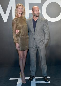 Pin for Later: Stars Turn Tom Ford's Runway Show Into an Event of Epic Proportions Rosie Huntington-Whiteley and Jason Statham