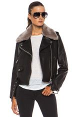 Acne Studios | Mape Shearling Leather Jacket in Black & Stone