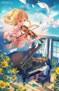 Miyazono Kaori and Arima Kousei - Your lie in April / Shigatsu was Kimi no Uso Sad Anime, Me Me Me Anime, Manga Anime, Anime Art, Fanarts Anime, Anime Characters, Kaori Anime, Art Anime Fille, Miyazono Kaori