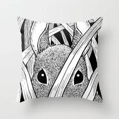Bunny in the Grass Throw Pillow by Laurie A. Conley - $20.00