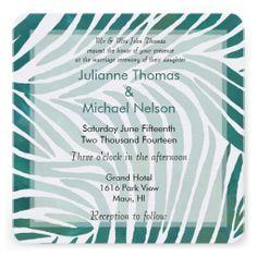 Teal Zebra Print Wedding Custom Invitation