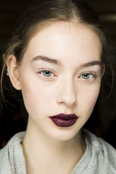 Clean look, Fall Lips. Easy back to School Season Makeup via @Vogue.  @Frankierosecosmetics Winter Plum, or Crushed Berries Lip Glosses are perfect for this look!