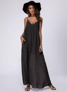 Polyester Polka Dot Sleeveless Maxi Casual Dresses (1044385) @ floryday.com