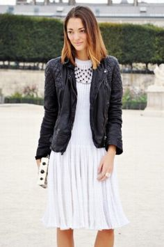 Leather with white dress