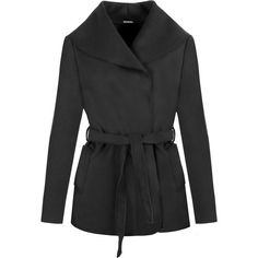 Itzel Long Sleeve Belted Coat (€30) ❤ liked on Polyvore featuring outerwear, coats, black, summer trench coat, coat with belt, black trenchcoat, cropped trench coat and velvet coat