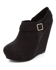 Black Buckle Strap Wedge Boots  | New Look
