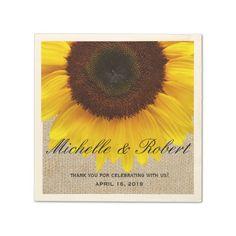 Sunflower on Burlap Rustic Country Wedding Custom Paper Napkin