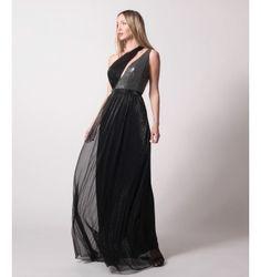 Maxi Φόρεμα Lurex - Μαύρο Prom Dresses, Formal Dresses, One Shoulder, Spring Summer, Black, Style, Fashion, Dresses For Formal, Swag