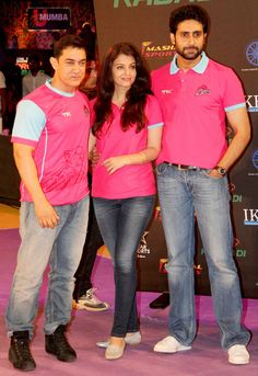 Entertainment Discover Aamir Khan poses with Aishwarya Rai Bachchan and Abhishek Bachchan at the Pro Kabaddi League opener.