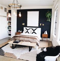 Cool 46 Modern Small Bedroom Design Ideas That Are Look Stylishly Space Saving Stylish Bedroom, Stylish Home Decor, Home Decor Bedroom, Diy Bedroom, Bedroom Curtains, Fall Bedroom, Accent Wall Bedroom, Bedroom Wallpaper, Bedroom Colors