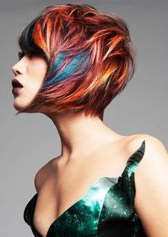 Caitlin Wilson - Joey Scandizzo Salon | Blue orange rainbow haircut
