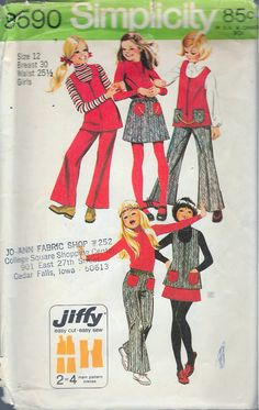 """Vintage 1971 Simplicity 9590 Girls Jiffy Retro Tunic, Skirt & Pants Sewing Pattern Size 12 Breast 30"""" by Recycledelic1 on Etsy"""