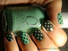 Polka Dot Manicure with Orly-Ancient Jade and OPI-Get in the Express Lane. I absolutely adore these colors together <3