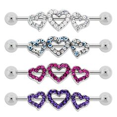 Triple Cutout Hearts Outlined In Gems Industrial Barbell. Industrial Barbell, Industrial Bars, Body Jewelry, Jewelry Box, Heart Outline, Belly Button Rings, Piercings, Gems, Bling