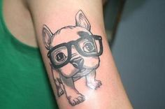 cute pups #tattoo #glasses #puppy