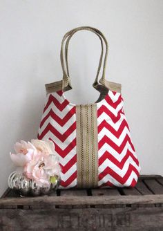 I see...faded denim shirt, red tank, comfy boyfrind jeans, metallic flats and...THIS Red chevron hobo bag with burlap by madebynanna on Etsy!!! =D
