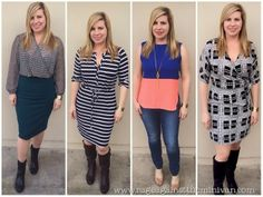 I like all of these outfits that this person got in their Stitch Fix. Especially the dresses, though a thick belt would help to create a waist for me with the striped dress. :)