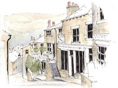 Haworth village situated at the edge of the Pennine moors in West Yorkshire, home of the Bronte sisters ~ sketch ~ John Edwards