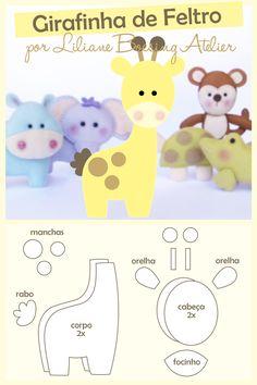 31 ideas doll felt pattern diy for 2019 Baby Crafts, Felt Crafts, Crafts For Kids, Felt Animal Patterns, Stuffed Animal Patterns, Giraffe Pattern, Baby Mobile, Felt Baby, Fabric Toys
