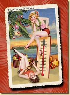 Warm Winter Wonderland Christmas Card - cute love the Christmasy pin up girls