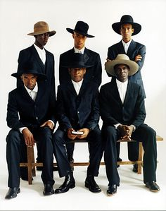 :D❤️love the buttoned up white shirts/no tie/wide brimed hats, dark suits..all of it