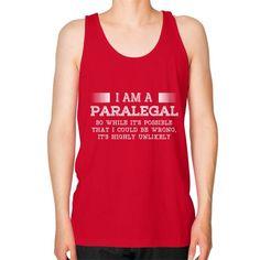I AM A paralegal Unisex Fine Jersey Tank (on man)