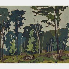 """""""Woodlot - 12 Mile Lake, Halibuton,"""" A.J. Casson, 1936, oil on board, 9.25 x 11.25"""", private collection."""