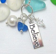 Believe Sea Glass Necklace by GardenLeafSeaside on Etsy, $20.00