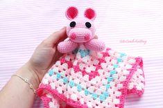Crochet Hippo crochet security blanket amigurumi toy