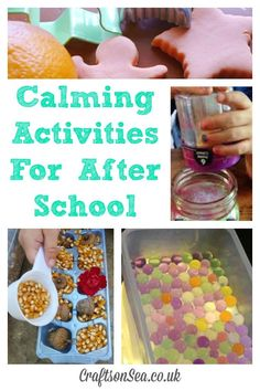 15 Calming Activities For After School These easy calming activities for after school are great for young kids or preschoolers that need to wind down at the end of the day. Calming Activities, Sensory Activities, Toddler Activities, Learning Activities, Sensory Play, English Activities, Sensory Bins, Summer Activities, Family Activities