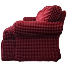 Gingham Three-Seat Sofa ($15,000) ❤ liked on Polyvore featuring home, furniture, sofas, upholstered sofa, red furniture, 3 seater sofa, red fabric sofa and upholstery sofa