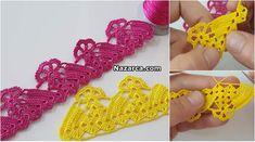 2 SIRA DESENLİ ÇARŞAF PİKE VE KENAR DANTELİ | Nazarca.com Fingerless Gloves, Arm Warmers, Diy And Crafts, Crochet Earrings, Jewelry, Islam, Fashion, Crochet Stitches, Hand Embroidery