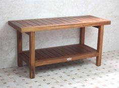 teak bathroom bench - moveable?