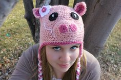 Pink Piggy Hat by MadhatterknitsCo on Etsy, $22.00