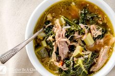 A hearty and healthy pulled pork soup that is ready in under an hour. Made with shredded pork, kale, zucchini & mirepoix! Gluten Free & Paleo