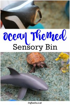 This simple ocean themed sensory bin for kids is easy to set up and tidy up too. Perfect for preschool ocean themed activities or fun sensory play at home. Sensory Activities, Summer Activities, Toddler Activities, Preschool Activities, Preschool Education, Animal Activities, Animal Crafts, Learning Through Play, Kids Learning