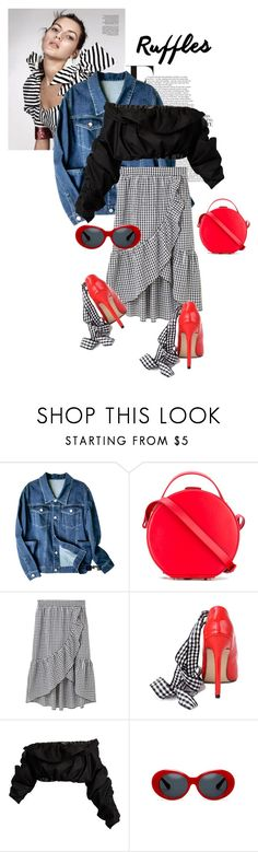 """""""ruffles volume is up"""" by black-eclipse-red-sky ❤ liked on Polyvore featuring Nico Giani, MANGO, E L L E R Y, red, gingham and ruffledtop"""