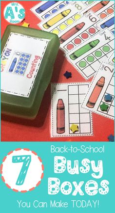 These back-to-school busy boxes are ready to print, cut, and use! Your preschool and kindergarten kids will love these 7 activities! - Kids education and learning acts Preschool Themes, Preschool Classroom, Kindergarten Math, Classroom Activities, Number Activities, Classroom Ideas, Autism Activities, Steam Activities, Preschool Curriculum