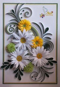 neli: Quilling card - flowers (10.5cm - 15cm )