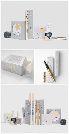 The neutral colors of this package design leave all the starlight to the make up products! @Alana . Sigmon Adams Shop