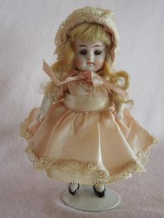 PRETTY German All Bisque Kestner 208 with Original Wig from gandtiques on Ruby Lane