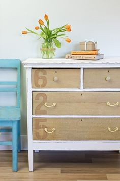 Dresser Makeover - love the natural wood combined with paint ( teal blue and stained dark maybe?)