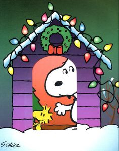 Woodstock and Snoopy waiting for Santa Clause...